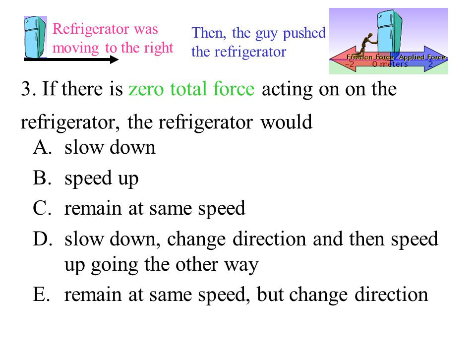 3. If there is zero total force acting on on the refrigerator, the refrigerator would A.slow down B.speed up C.remain at same speed D.slow down, chang