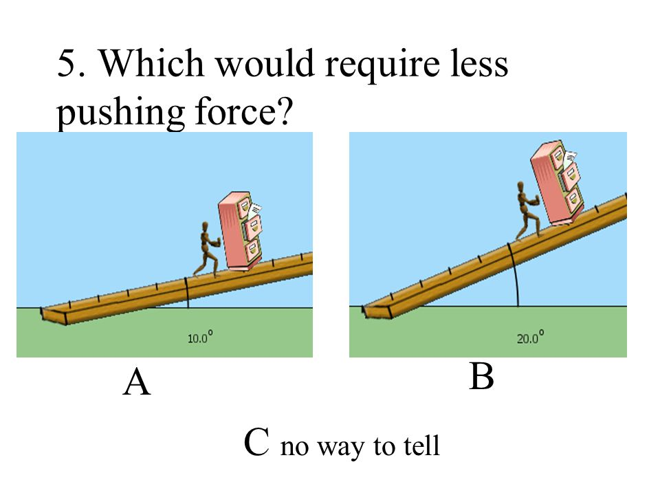5. Which would require less pushing force? A B C no way to tell
