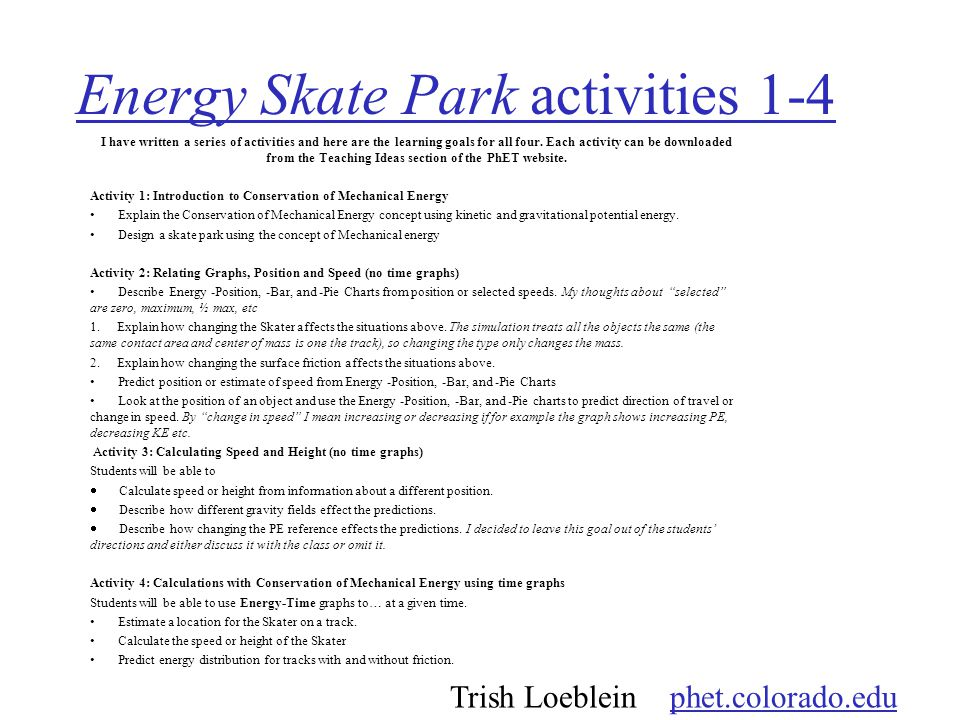 Energy Skate Park activities 1-4 I have written a series of activities and here are the learning goals for all four.