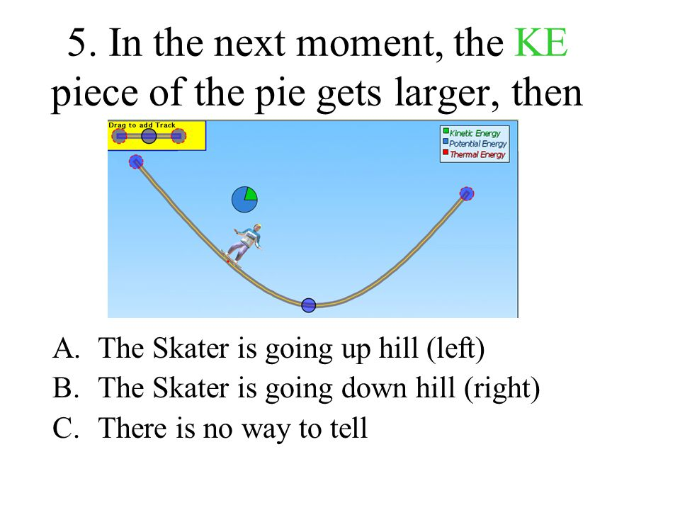 5. In the next moment, the KE piece of the pie gets larger, then A.The Skater is going up hill (left) B.The Skater is going down hill (right) C.There