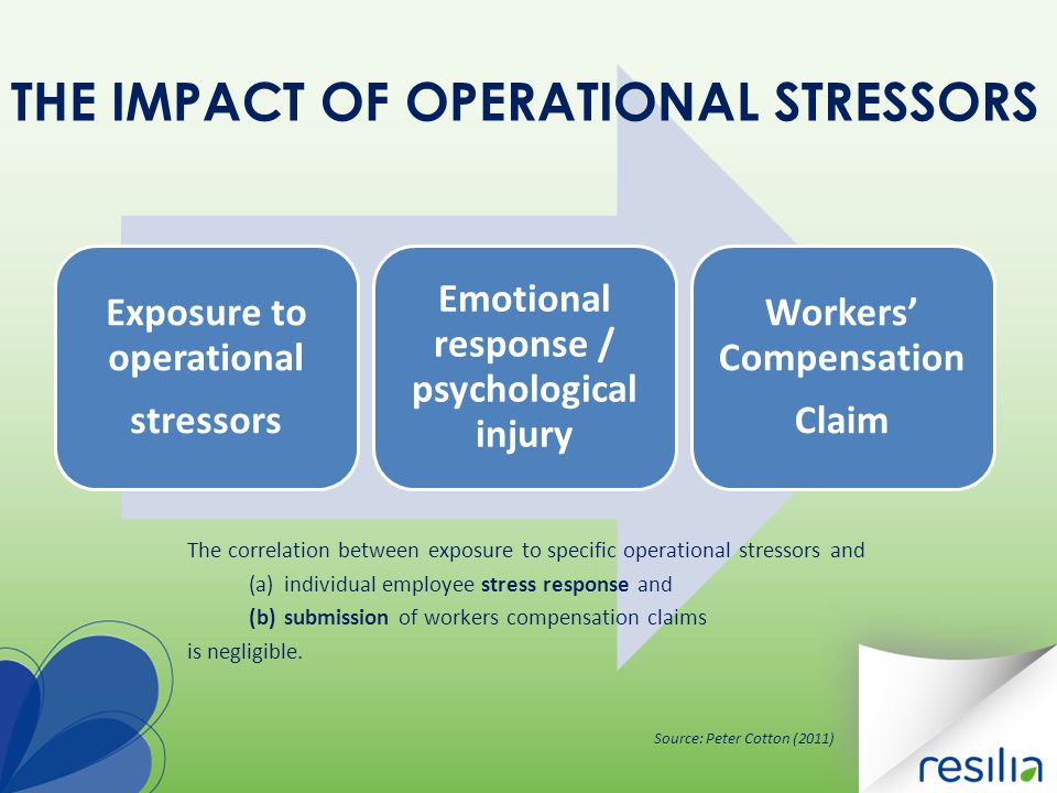 Exposure to operational stressors Emotional response / psychological injury Workers' Compensation Claim THE IMPACT OF OPERATIONAL STRESSORS The correl