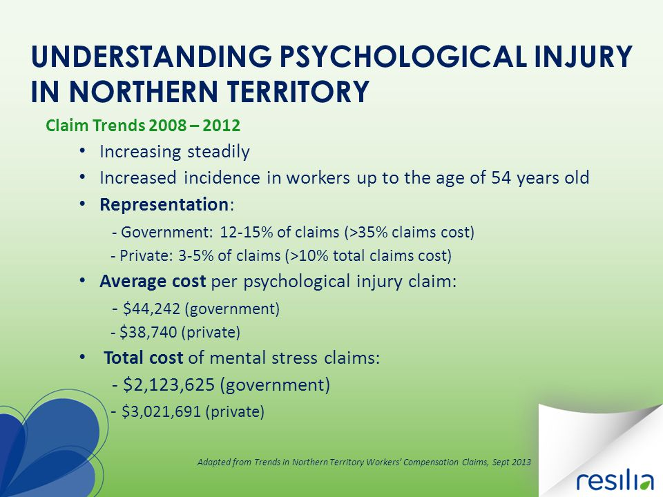 UNDERSTANDING PSYCHOLOGICAL INJURY IN NORTHERN TERRITORY Claim Trends 2008 – 2012 Increasing steadily Increased incidence in workers up to the age of