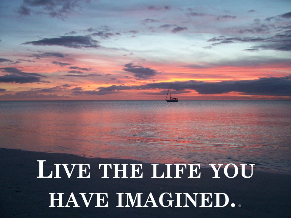 L IVE THE LIFE YOU HAVE IMAGINED..