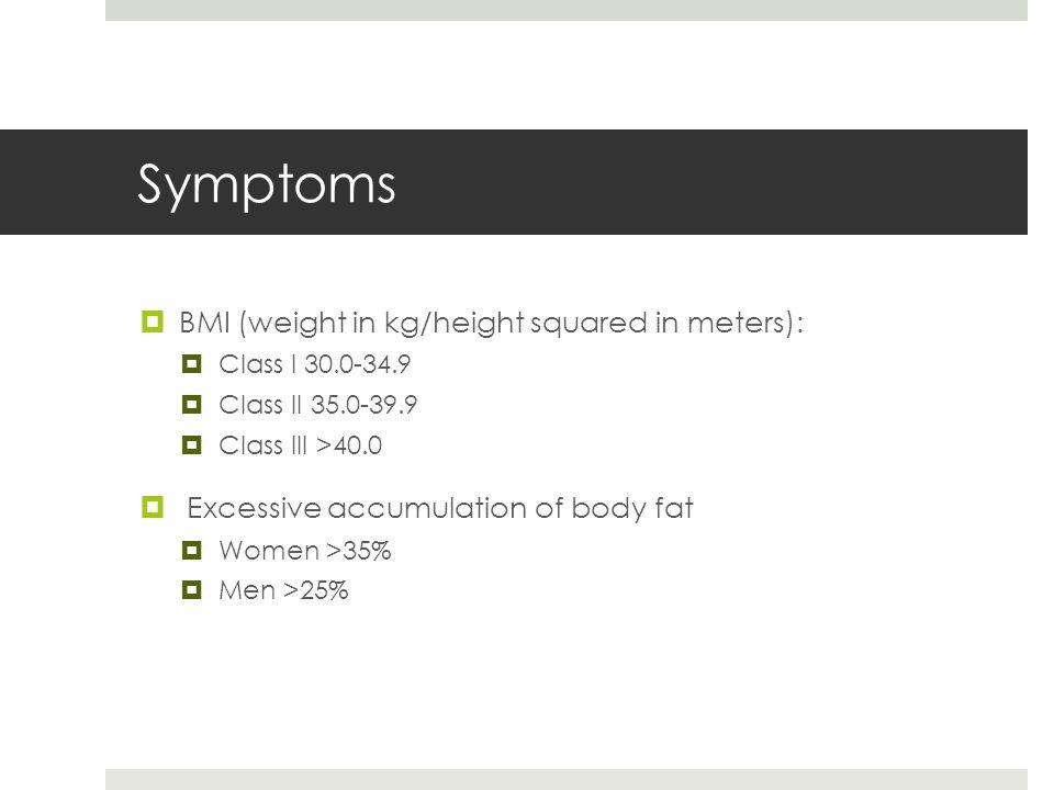 Symptoms  BMI (weight in kg/height squared in meters):  Class I 30.0-34.9  Class II 35.0-39.9  Class III >40.0  Excessive accumulation of body fat  Women >35%  Men >25%