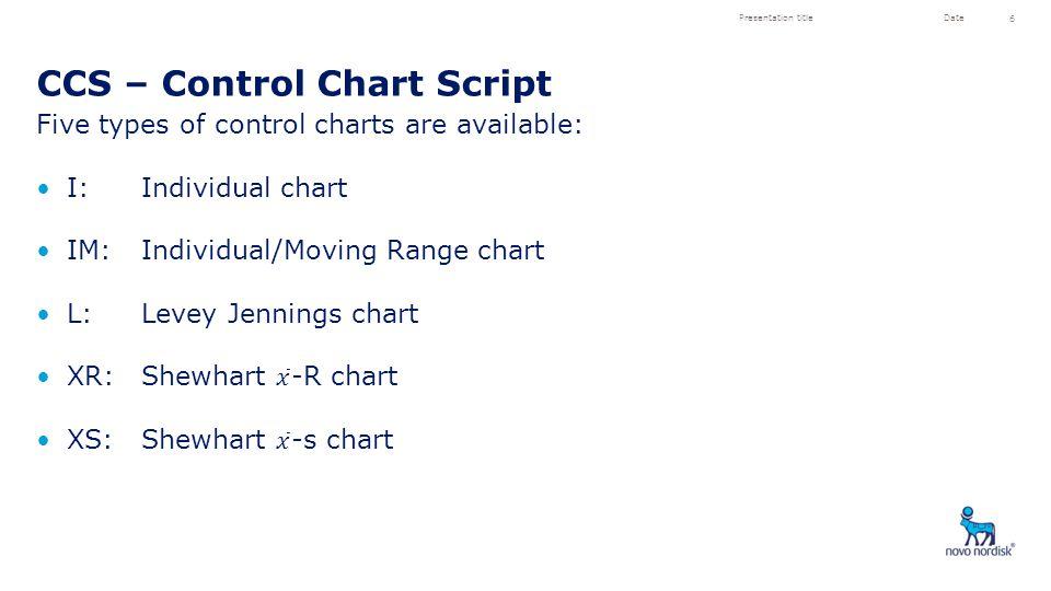 CCS – Control Chart Script Presentation titleDate 6