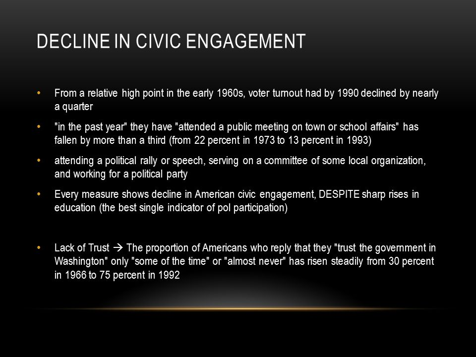 DECLINE IN CIVIC ENGAGEMENT From a relative high point in the early 1960s, voter turnout had by 1990 declined by nearly a quarter in the past year they have attended a public meeting on town or school affairs has fallen by more than a third (from 22 percent in 1973 to 13 percent in 1993) attending a political rally or speech, serving on a committee of some local organization, and working for a political party Every measure shows decline in American civic engagement, DESPITE sharp rises in education (the best single indicator of pol participation) Lack of Trust  The proportion of Americans who reply that they trust the government in Washington only some of the time or almost never has risen steadily from 30 percent in 1966 to 75 percent in 1992