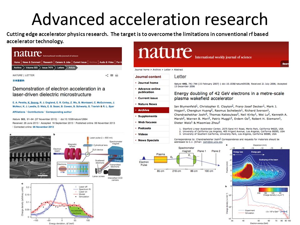 Advanced acceleration research Cutting edge accelerator physics research.