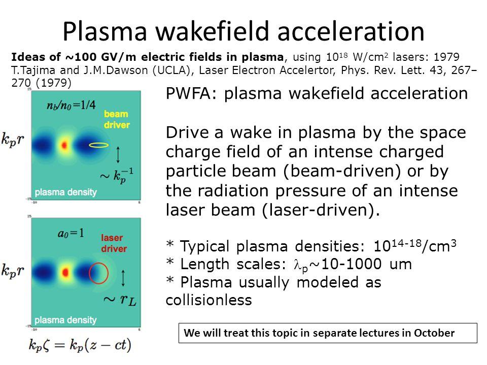 Plasma wakefield acceleration Ideas of ~100 GV/m electric fields in plasma, using 10 18 W/cm 2 lasers: 1979 T.Tajima and J.M.Dawson (UCLA), Laser Elec