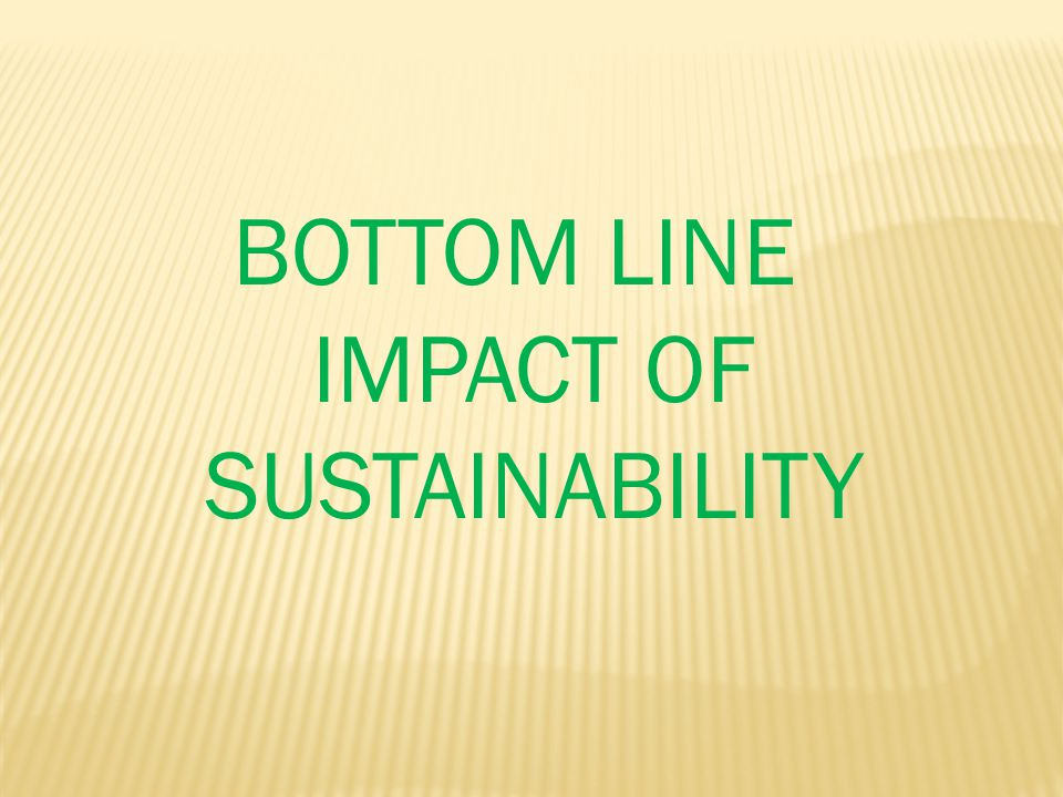 BOTTOM LINE IMPACT OF SUSTAINABILITY