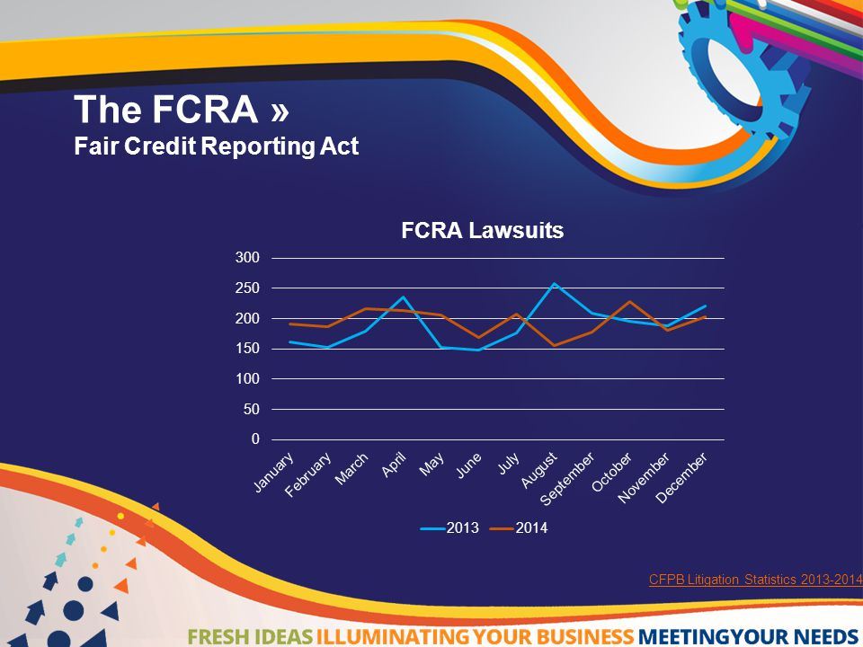 The FCRA»  General Duties under FCRA:  Correct and Update Tradeline Information  Notice of Dispute  Notice of Closed Accounts  Notice of Delinquent Accounts  Provide Notice of Identity Theft Information  Investigation of Disputes  Notice of Results to Consumers 15 U.S.C.
