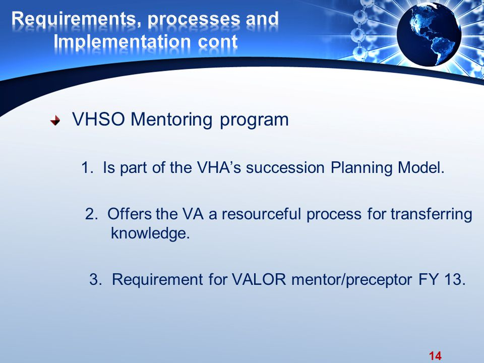 14 VHSO Mentoring program 1. Is part of the VHA's succession Planning Model.
