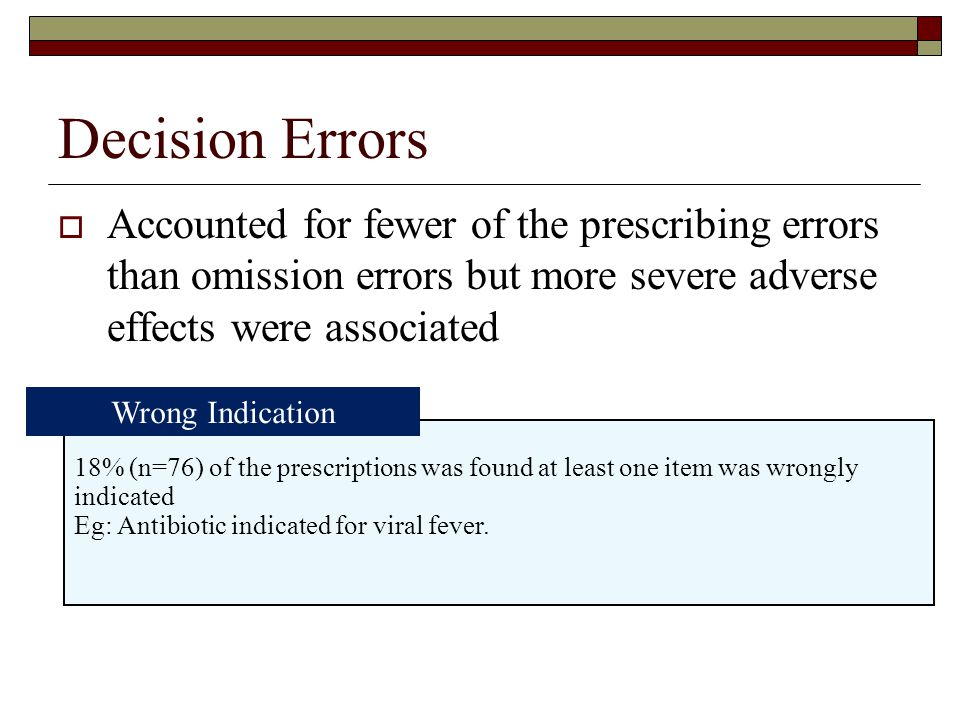 Decision Errors  Accounted for fewer of the prescribing errors than omission errors but more severe adverse effects were associated 18% (n=76) of the prescriptions was found at least one item was wrongly indicated Eg: Antibiotic indicated for viral fever.