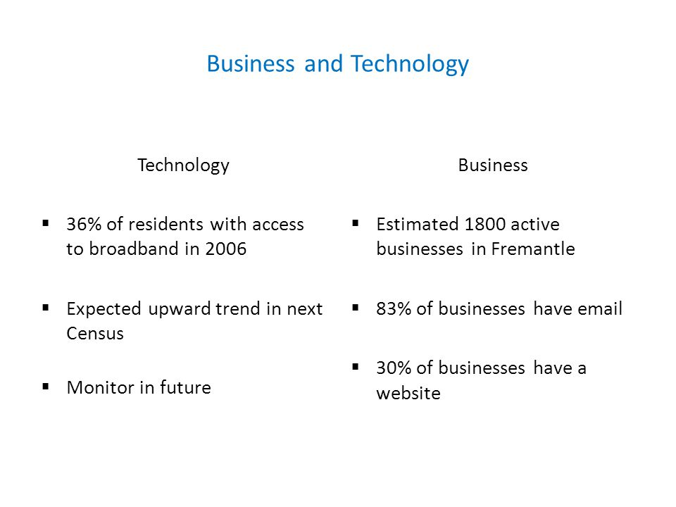Business and Technology Technology  36% of residents with access to broadband in 2006  Expected upward trend in next Census  Monitor in future Business  Estimated 1800 active businesses in Fremantle  83% of businesses have email  30% of businesses have a website