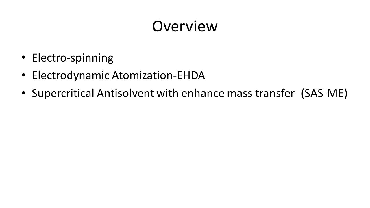 Overview Electro-spinning Electrodynamic Atomization-EHDA Supercritical Antisolvent with enhance mass transfer- (SAS-ME)