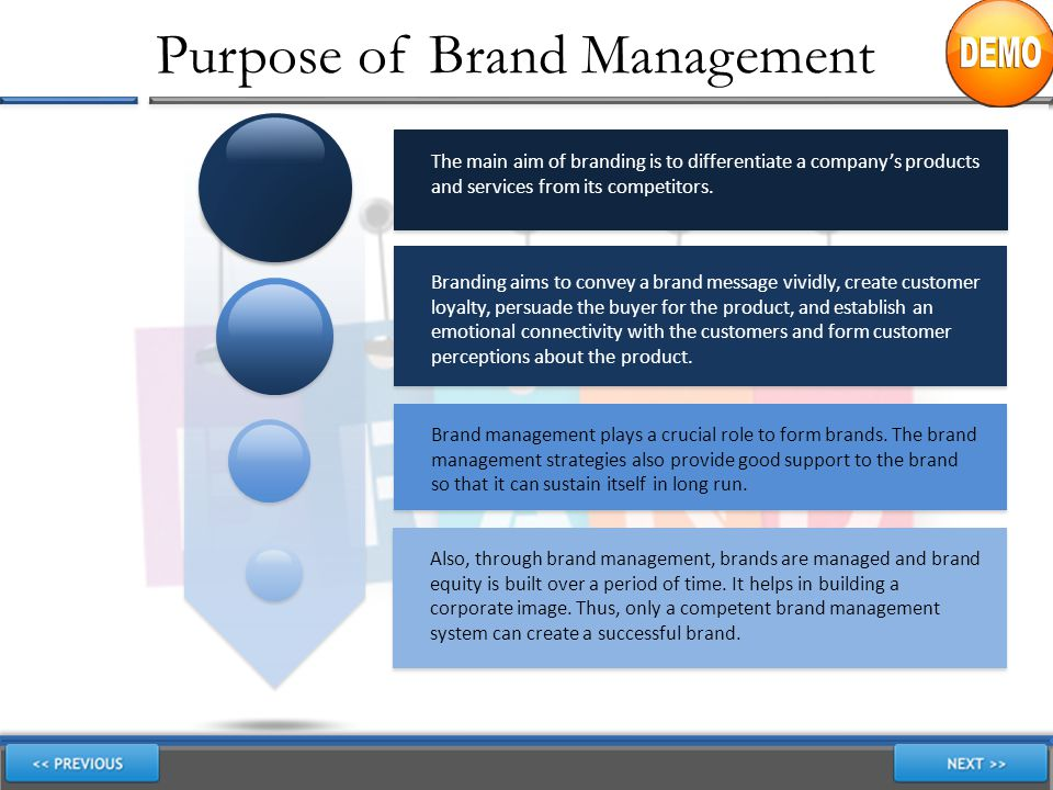 Purpose of Brand Management The main aim of branding is to differentiate a company's products and services from its competitors. Branding aims to conv
