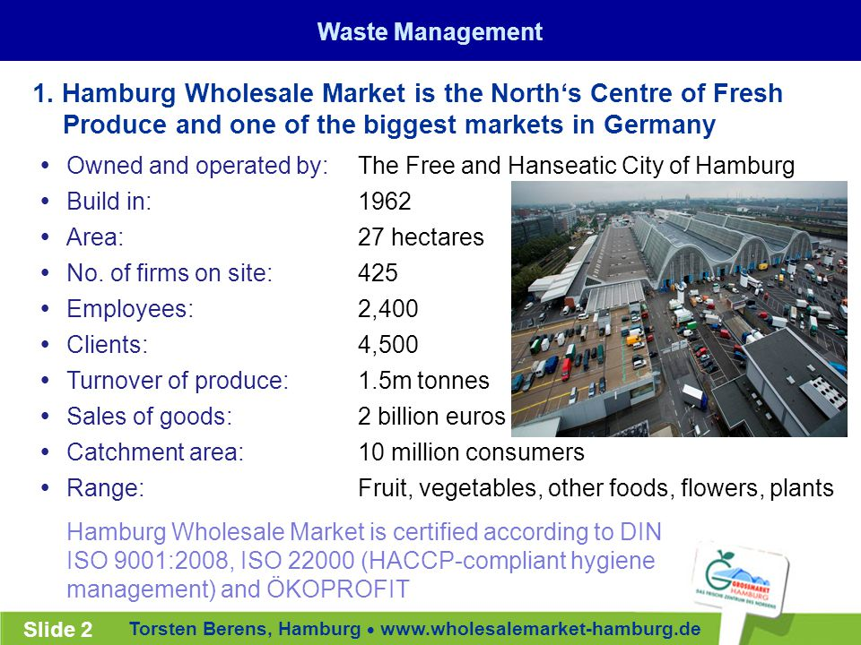 Torsten Berens, Hamburg  www.wholesalemarket-hamburg.de Slide 2  Owned and operated by:  Build in:  Area:  No.