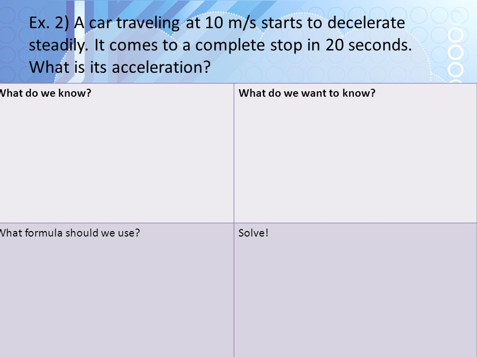 Ex. 2) A car traveling at 10 m/s starts to decelerate steadily. It comes to a complete stop in 20 seconds. What is its acceleration? What do we know?W