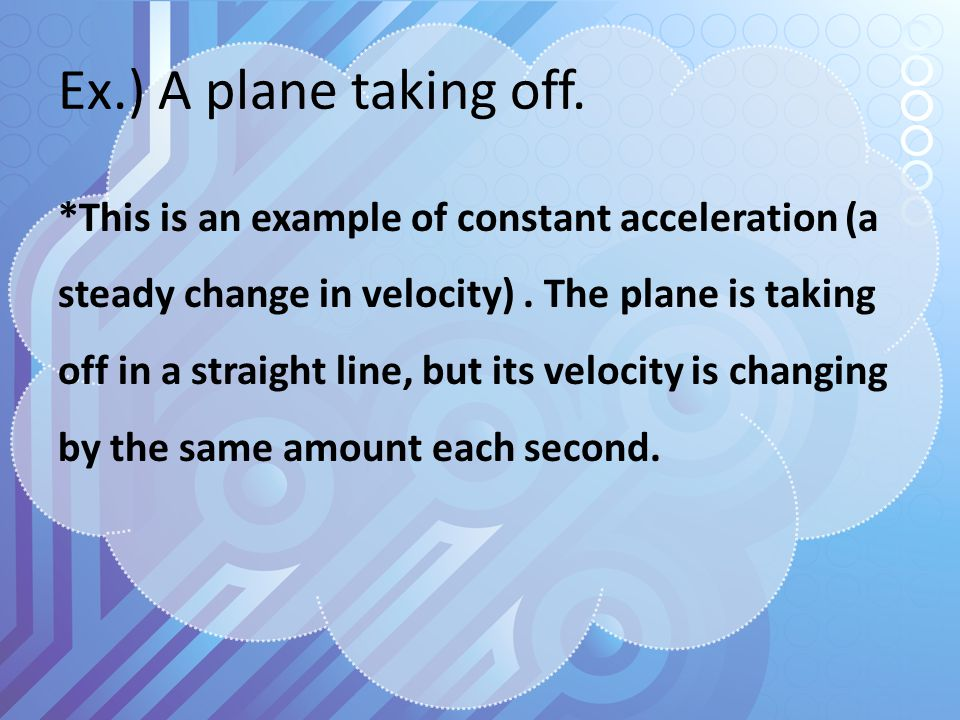 Ex.3) An airplane travels down a runway for 4.0 seconds with an acceleration of 9.0 m/s^(2).