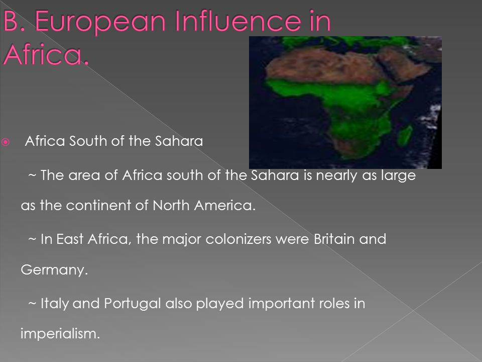  Africa South of the Sahara ~ The area of Africa south of the Sahara is nearly as large as the continent of North America.