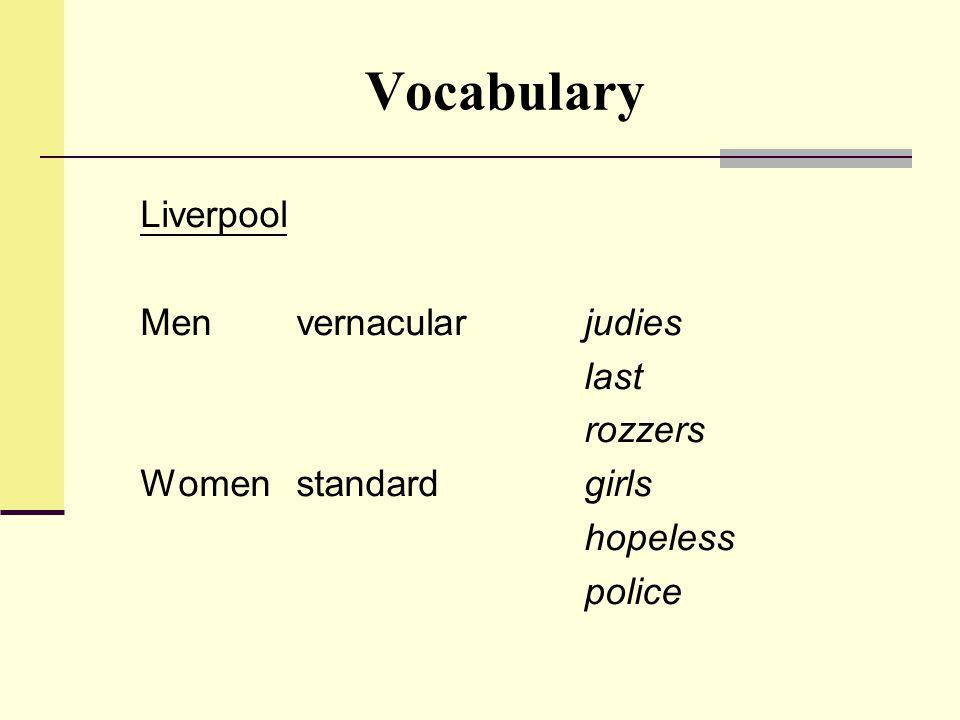 Vocabulary Liverpool Men vernacularjudies last rozzers Womenstandard girls hopeless police