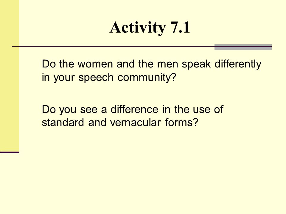 Activity 7.1 Do the women and the men speak differently in your speech community? Do you see a difference in the use of standard and vernacular forms?