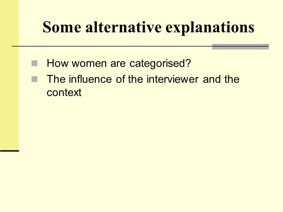 Some alternative explanations How women are categorised? The influence of the interviewer and the context