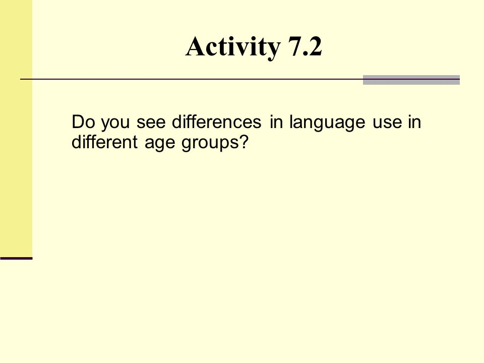 Activity 7.2 Do you see differences in language use in different age groups?
