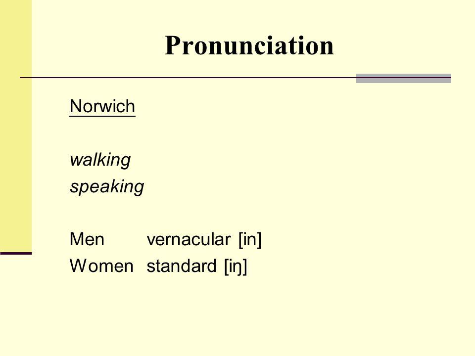 Pronunciation Norwich walking speaking Men vernacular [in] Womenstandard [iŋ]