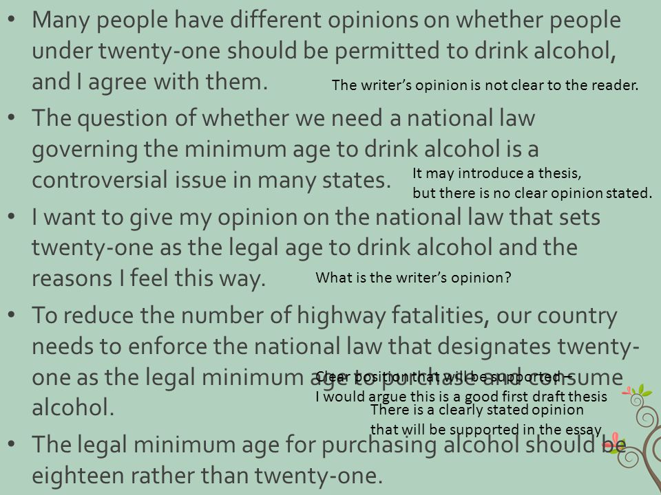 Many people have different opinions on whether people under twenty-one should be permitted to drink alcohol, and I agree with them. The question of wh