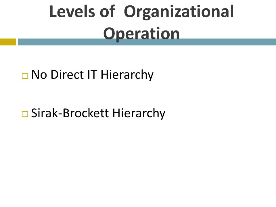Levels of Organizational Operation  No Direct IT Hierarchy  Sirak-Brockett Hierarchy
