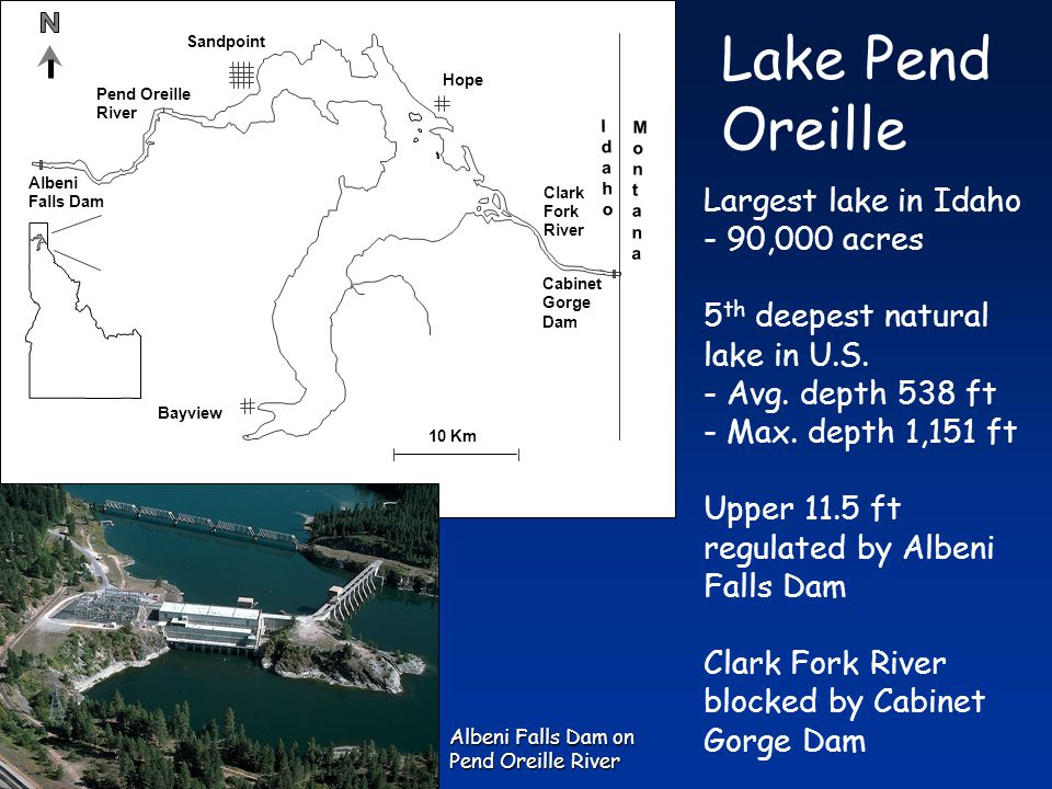 Pend Oreille River Cabinet Gorge Dam Clark Fork River Albeni Falls Dam Bayview Hope Sandpoint 10 Km IdahoIdaho MontanaMontana Largest lake in Idaho - 90,000 acres 5 th deepest natural lake in U.S.