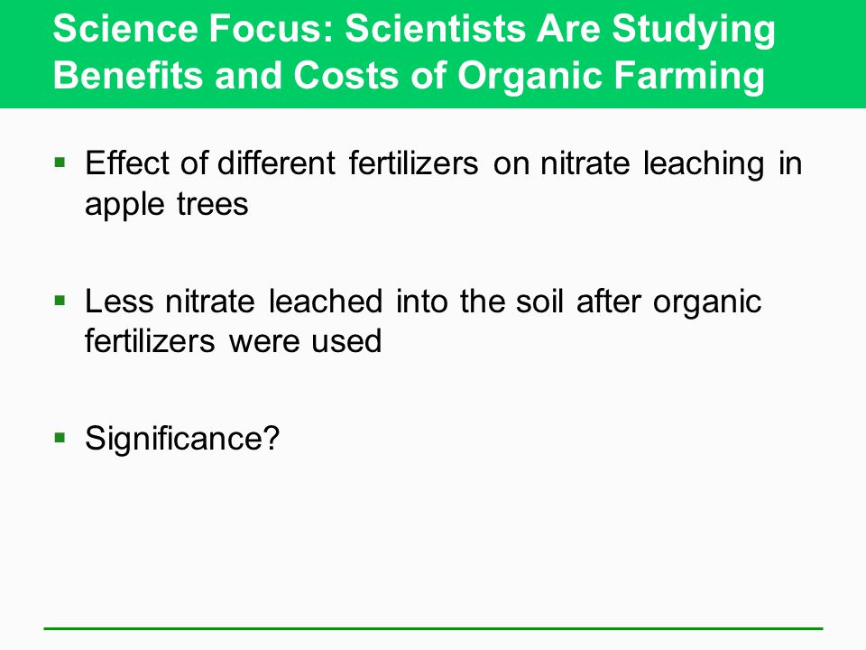 Science Focus: Scientists Are Studying Benefits and Costs of Organic Farming  Effect of different fertilizers on nitrate leaching in apple trees  Less nitrate leached into the soil after organic fertilizers were used  Significance?