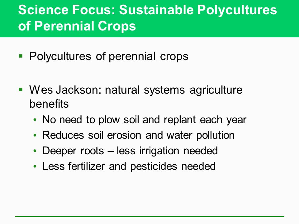 Science Focus: Sustainable Polycultures of Perennial Crops  Polycultures of perennial crops  Wes Jackson: natural systems agriculture benefits No need to plow soil and replant each year Reduces soil erosion and water pollution Deeper roots – less irrigation needed Less fertilizer and pesticides needed