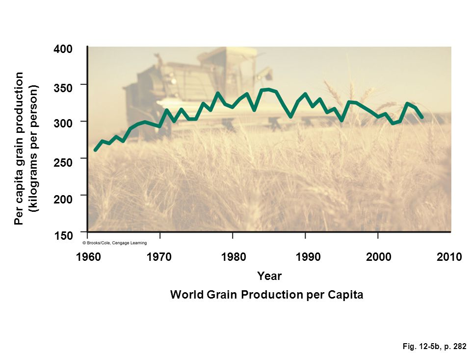 400 350 300 250 Per capita grain production (kilograms per person) 200 150 196019701980199020002010 Year World Grain Production per Capita