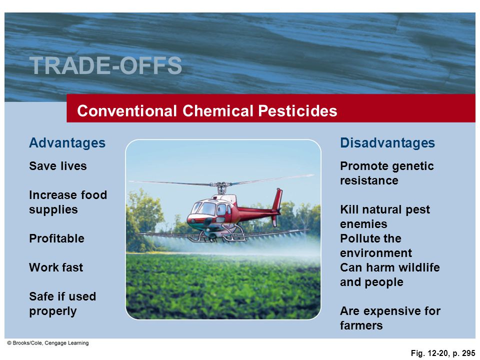 Fig. 12-20, p. 295 TRADE-OFFS Conventional Chemical Pesticides Save livesPromote genetic resistance AdvantagesDisadvantages Increase food supplies Kil