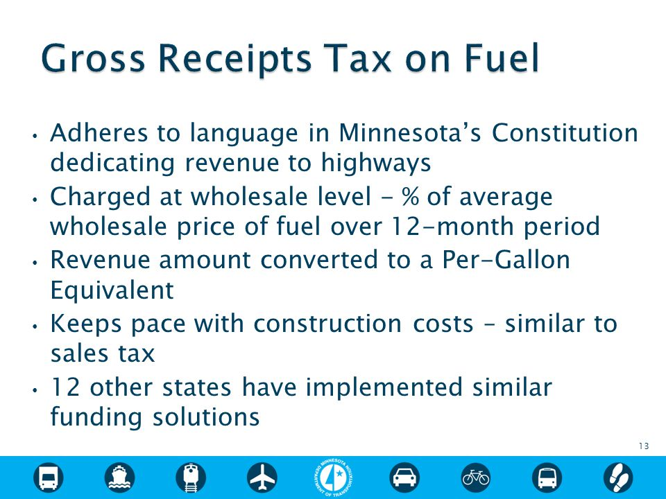 Adheres to language in Minnesota's Constitution dedicating revenue to highways Charged at wholesale level - % of average wholesale price of fuel over 12-month period Revenue amount converted to a Per-Gallon Equivalent Keeps pace with construction costs – similar to sales tax 12 other states have implemented similar funding solutions 13