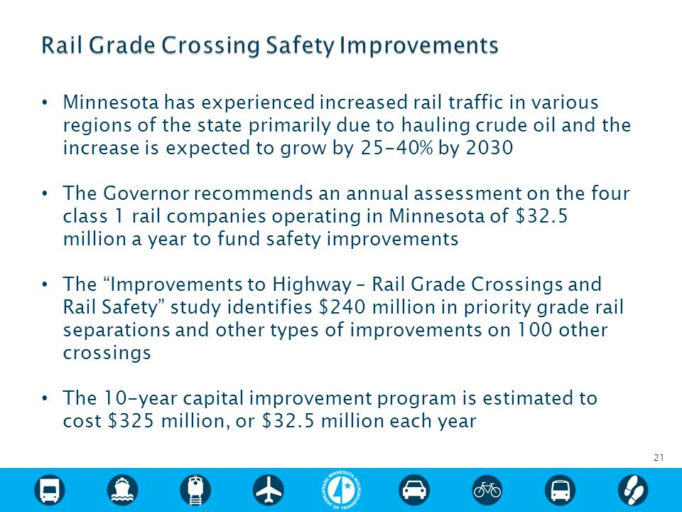 Minnesota has experienced increased rail traffic in various regions of the state primarily due to hauling crude oil and the increase is expected to grow by 25-40% by 2030 The Governor recommends an annual assessment on the four class 1 rail companies operating in Minnesota of $32.5 million a year to fund safety improvements The Improvements to Highway – Rail Grade Crossings and Rail Safety study identifies $240 million in priority grade rail separations and other types of improvements on 100 other crossings The 10-year capital improvement program is estimated to cost $325 million, or $32.5 million each year 21