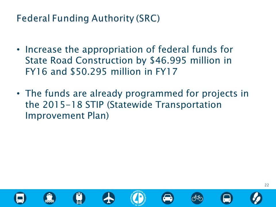 Increase the appropriation of federal funds for State Road Construction by $46.995 million in FY16 and $50.295 million in FY17 The funds are already programmed for projects in the 2015-18 STIP (Statewide Transportation Improvement Plan) 22