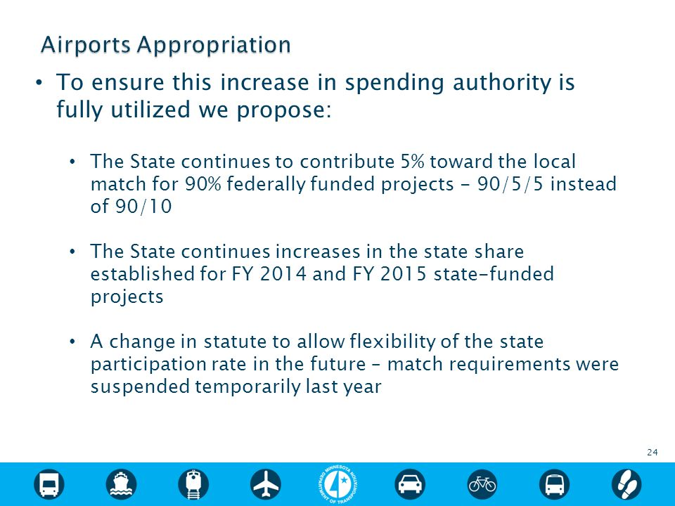To ensure this increase in spending authority is fully utilized we propose: The State continues to contribute 5% toward the local match for 90% federally funded projects - 90/5/5 instead of 90/10 The State continues increases in the state share established for FY 2014 and FY 2015 state-funded projects A change in statute to allow flexibility of the state participation rate in the future – match requirements were suspended temporarily last year 24