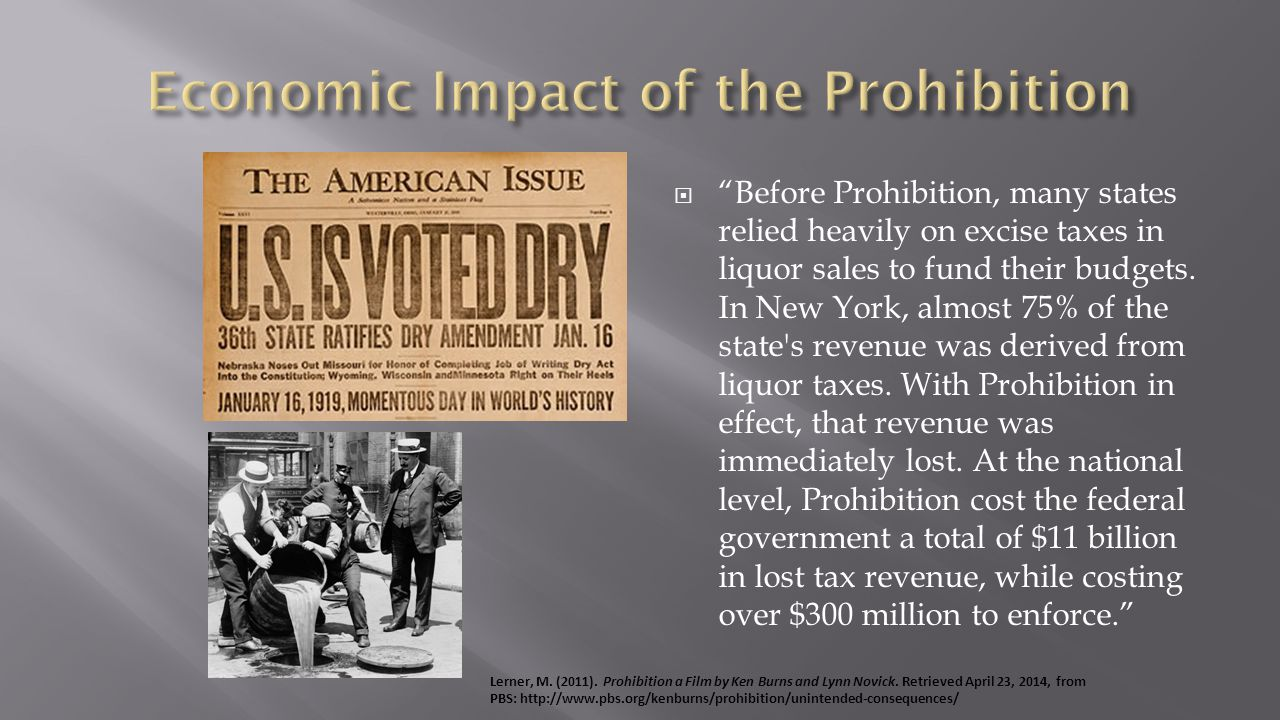 Before Prohibition, many states relied heavily on excise taxes in liquor sales to fund their budgets.
