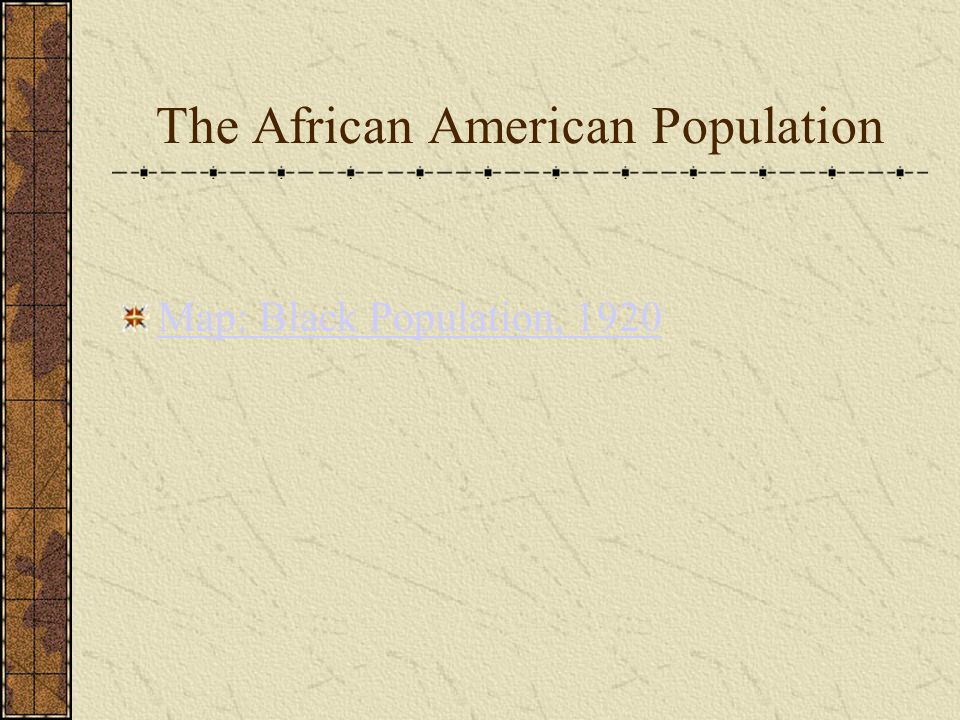 The African American Population Map: Black Population, 1920