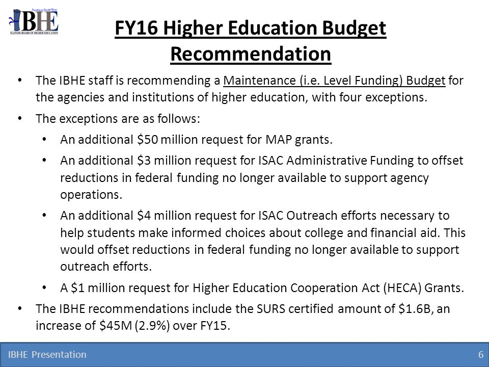 IBHE Presentation 7 FY16 Performance Funding Recommendations The performance funding allocations are based on the FY15 performance funding model, which did not change for FY16, and represent a.5% appropriation set-aside as in previous years.