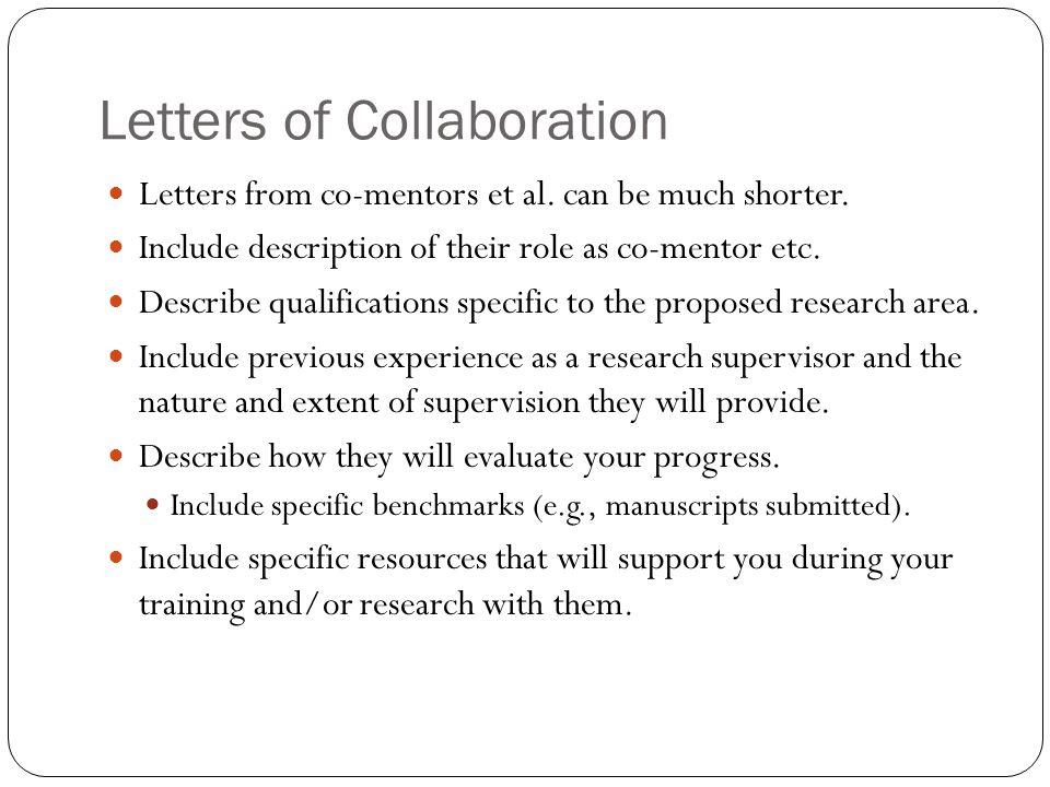 Letters of Collaboration Letters from co-mentors et al.