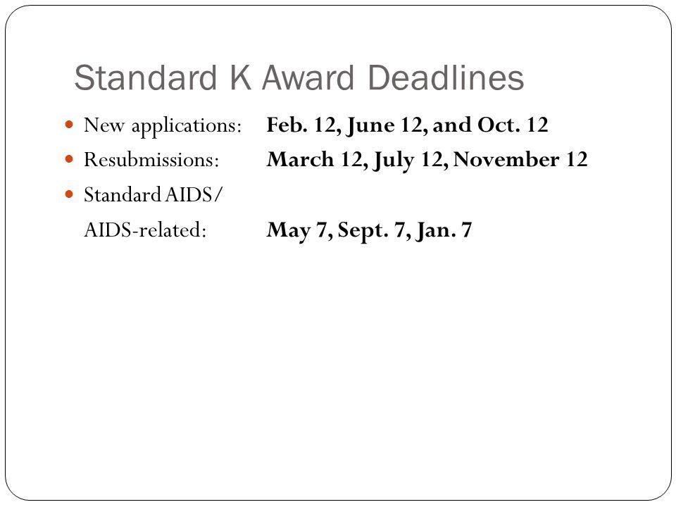 Standard K Award Deadlines New applications: Feb.12, June 12, and Oct.