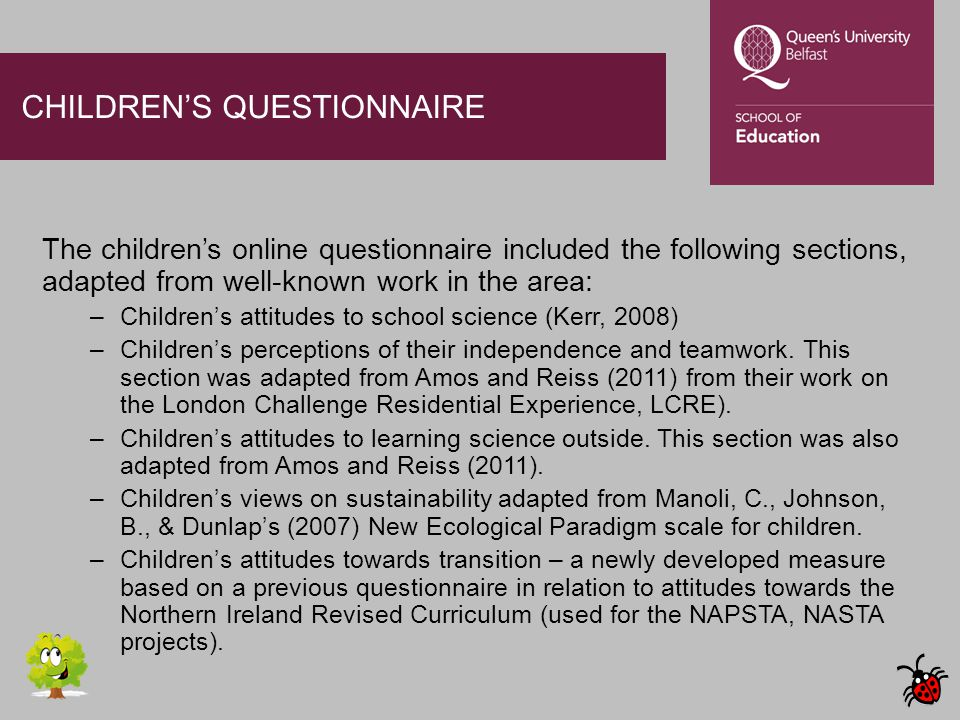 CHILDREN'S QUESTIONNAIRE The children's online questionnaire included the following sections, adapted from well-known work in the area: –Children's at