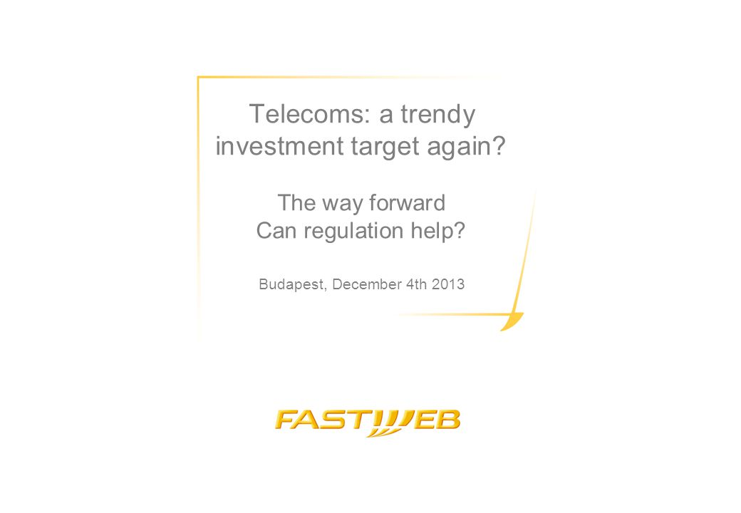 Fastweb's unique positioning in the NGA market 2,5 Mln Tablet WiFi 2,3 Mln Connected TV RomaBari Palermo Napoli Ancona Firenze Pisa Livorno Bologna Reggio Emilia Venezia Trieste Verona Padova Milano Bergamo Brescia FW FTTH footprint FW FTTS footprint 1.8 million households passed by proprietary FTTH in 7 cities Extensive LLU coverage in over 1000 local exchanges Thanks to end-to-end control of infrastructures, first operator in itlay to launch 20 Mb/s service and 100 Mb/s (in 2008) Since 2012 first Altnet in Europe to massively deploy FTTC: 3.5 million households covered by 2014 in 20 cities