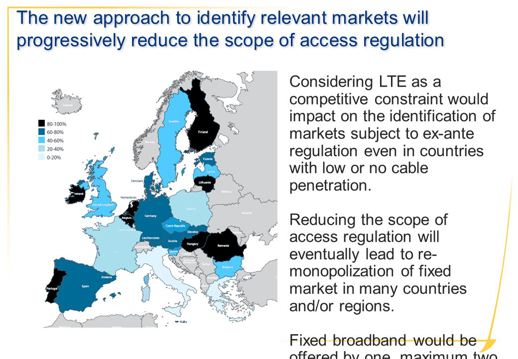 Considering LTE as a competitive constraint would impact on the identification of markets subject to ex-ante regulation even in countries with low or no cable penetration.