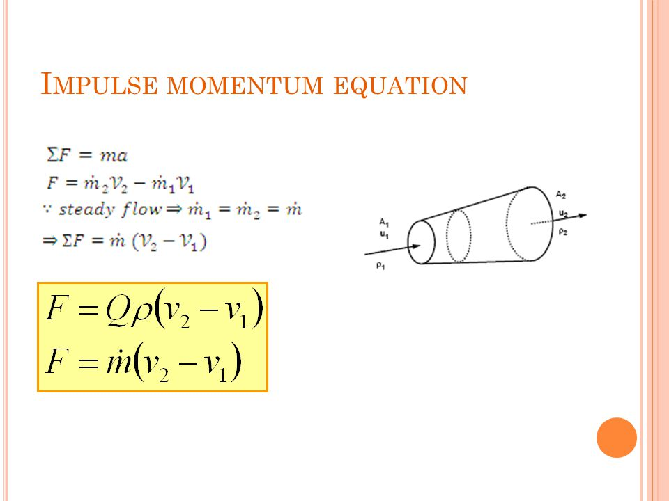I MPULSE MOMENTUM EQUATION
