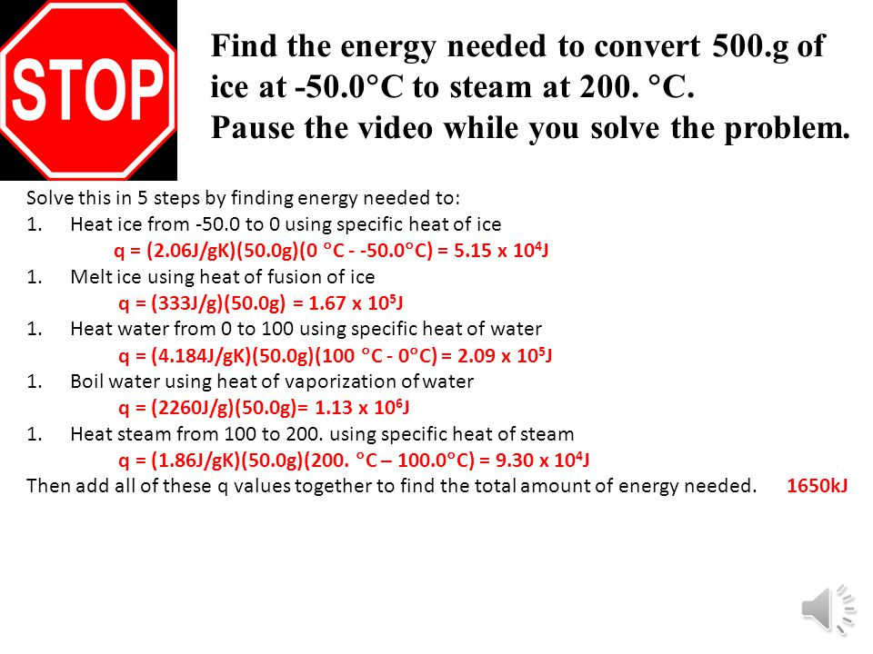 Find the energy needed to convert 500.g of ice at -50.0  C to steam at 200.