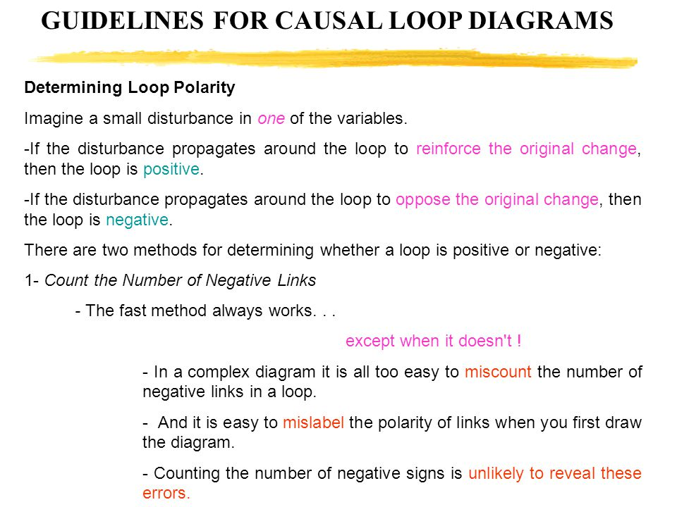GUIDELINES FOR CAUSAL LOOP DIAGRAMS Determining Loop Polarity Imagine a small disturbance in one of the variables. -If the disturbance propagates arou
